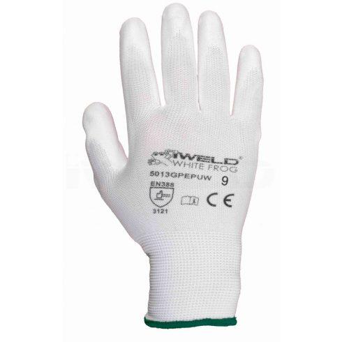 Iweld hegesztéstechnika White Frog PU mártott védőkesztyű, fehér, 9-es 5013GPEPUW9